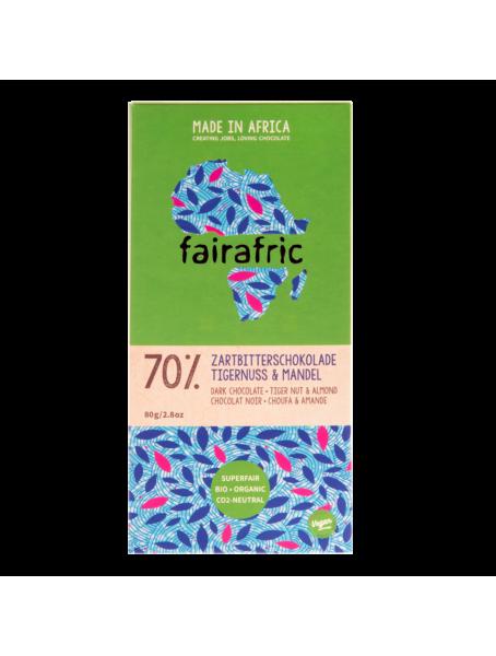 Bio Zartbitterschokolade 70% mit Tigernuss und Mandel - 80 g
